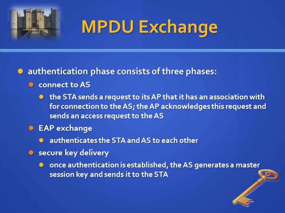 MPDU Exchange authentication phase consists of three phases:
