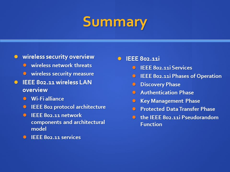 Summary wireless security overview IEEE 802.11i