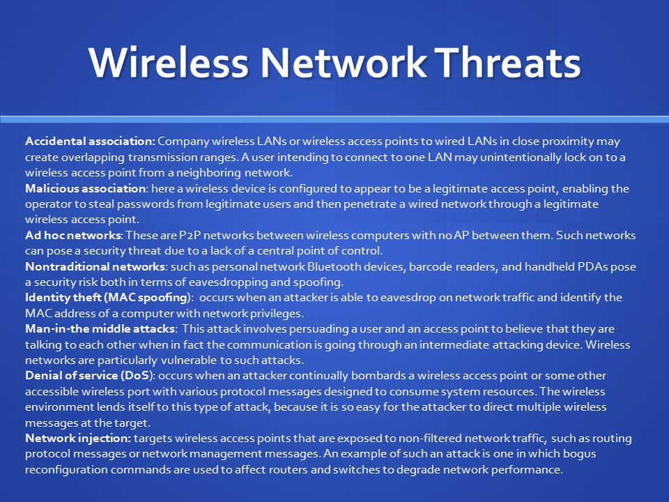 Wireless Network Threats