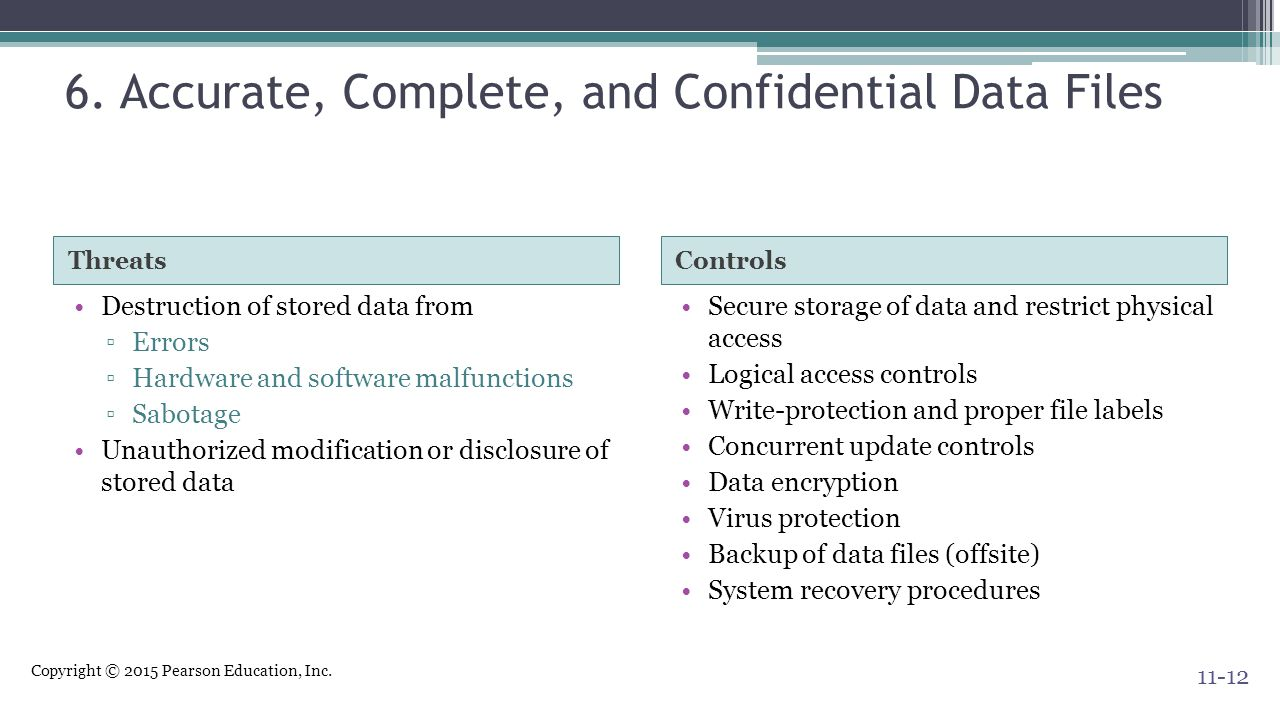 6. Accurate, Complete, and Confidential Data Files