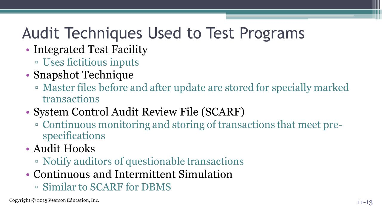 Audit Techniques Used to Test Programs