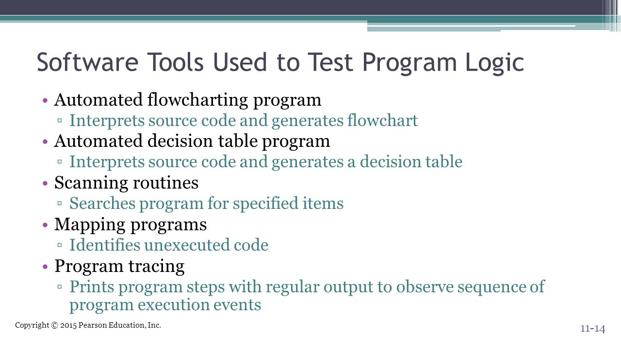 Software Tools Used to Test Program Logic
