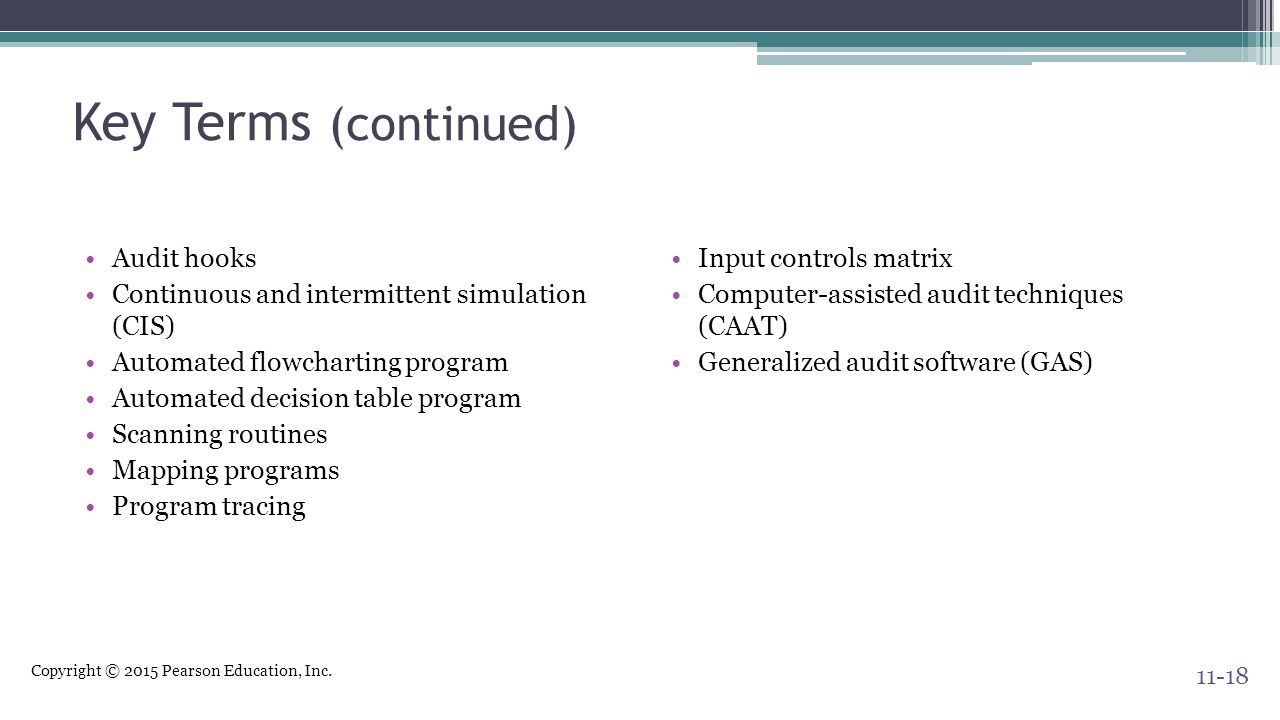 Key Terms (continued) Audit hooks