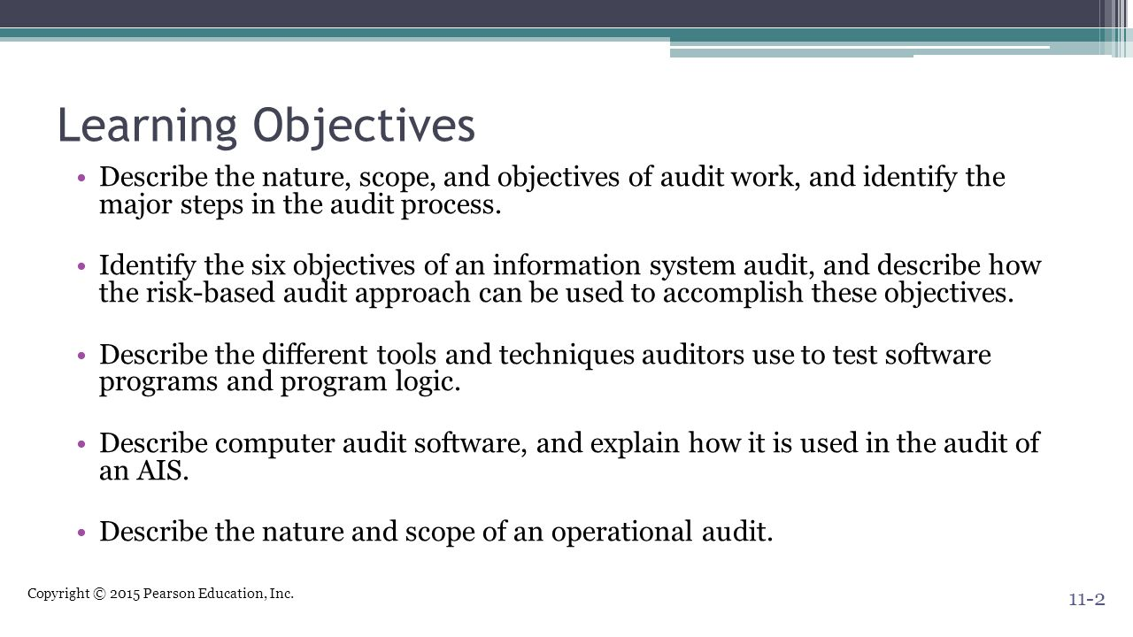 Learning Objectives Describe the nature, scope, and objectives of audit work, and identify the major steps in the audit process.
