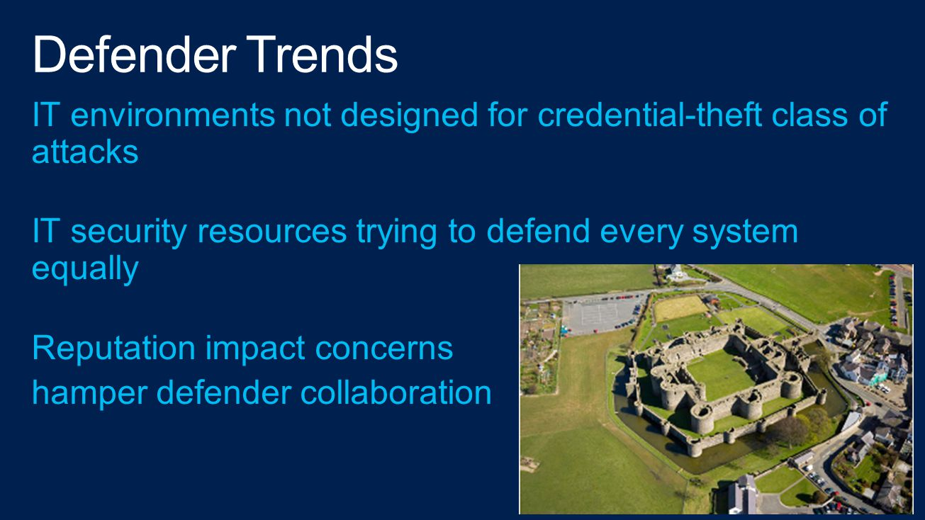 4/14/2017 Defender Trends. IT environments not designed for credential-theft class of attacks.
