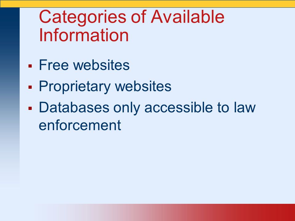 Categories of Available Information