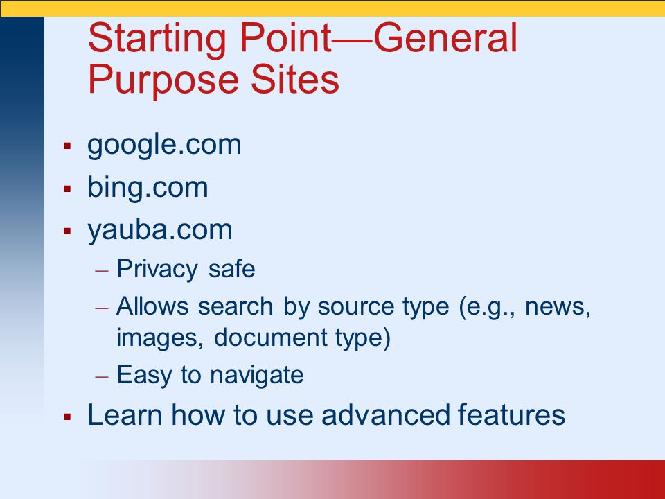 Starting Point—General Purpose Sites