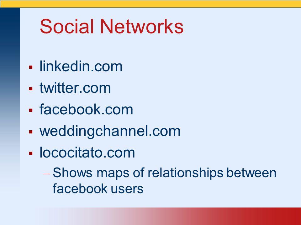 Social Networks linkedin.com twitter.com facebook.com