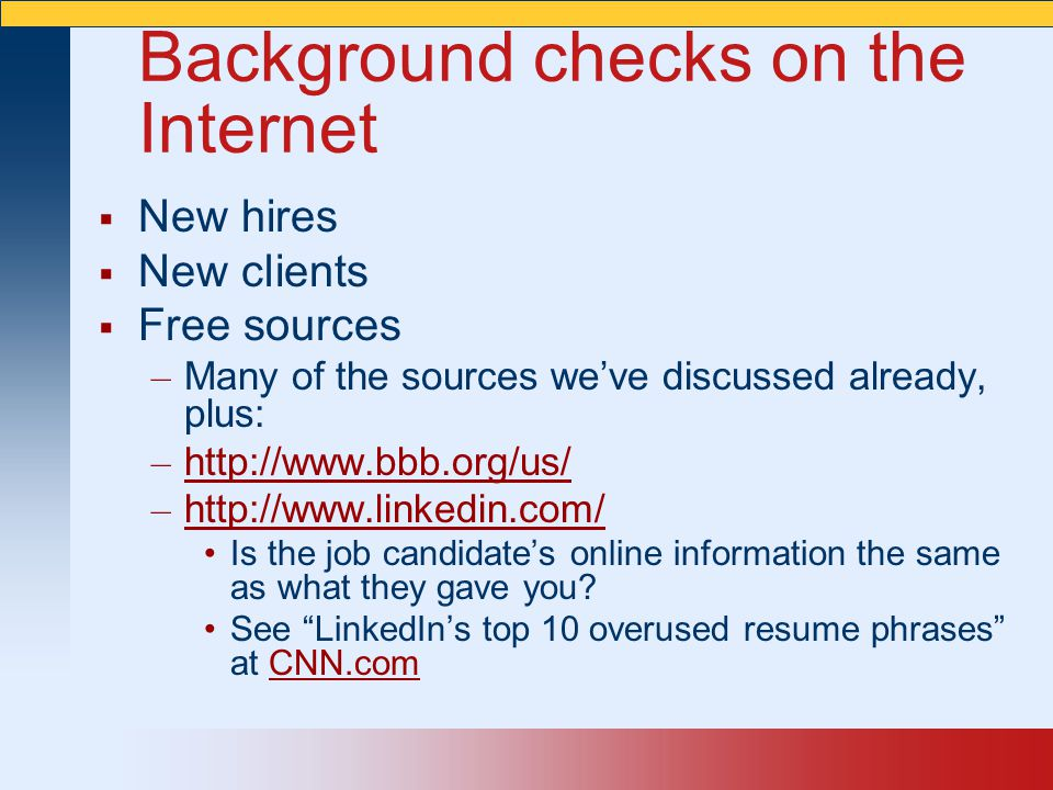 Background checks on the Internet