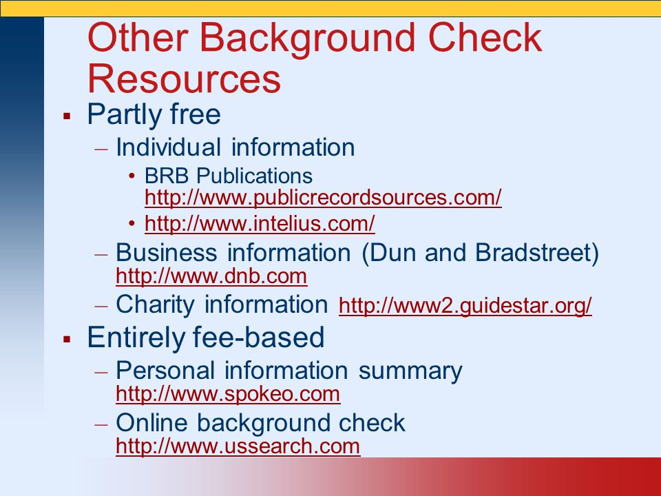 Other Background Check Resources
