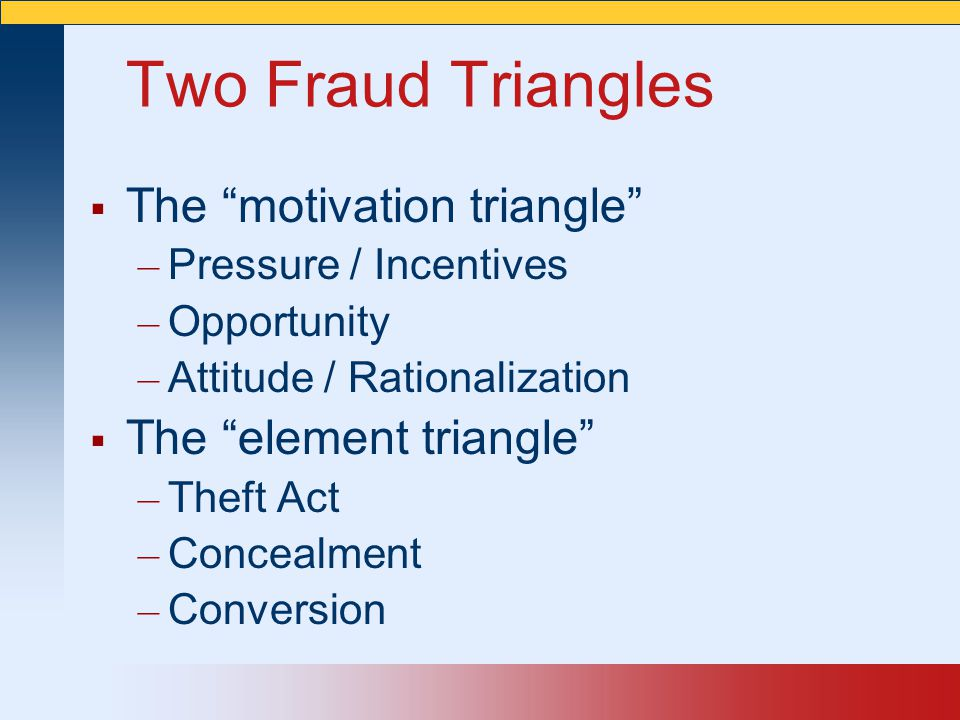 Two Fraud Triangles The motivation triangle The element triangle