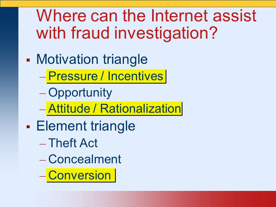 Where can the Internet assist with fraud investigation
