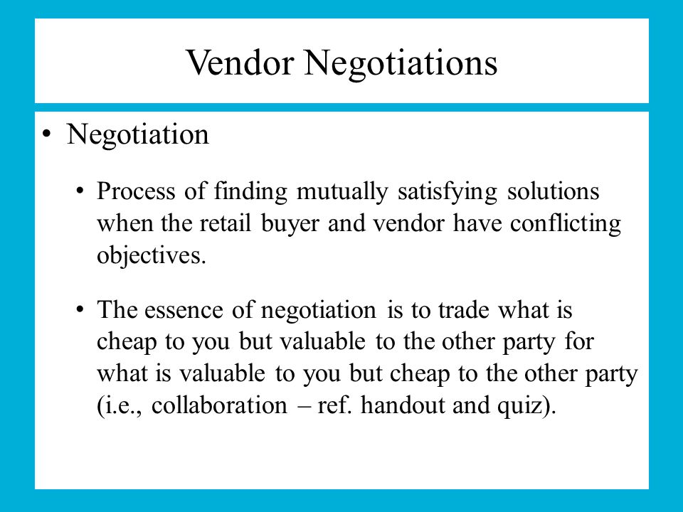 Vendor Negotiations Negotiation