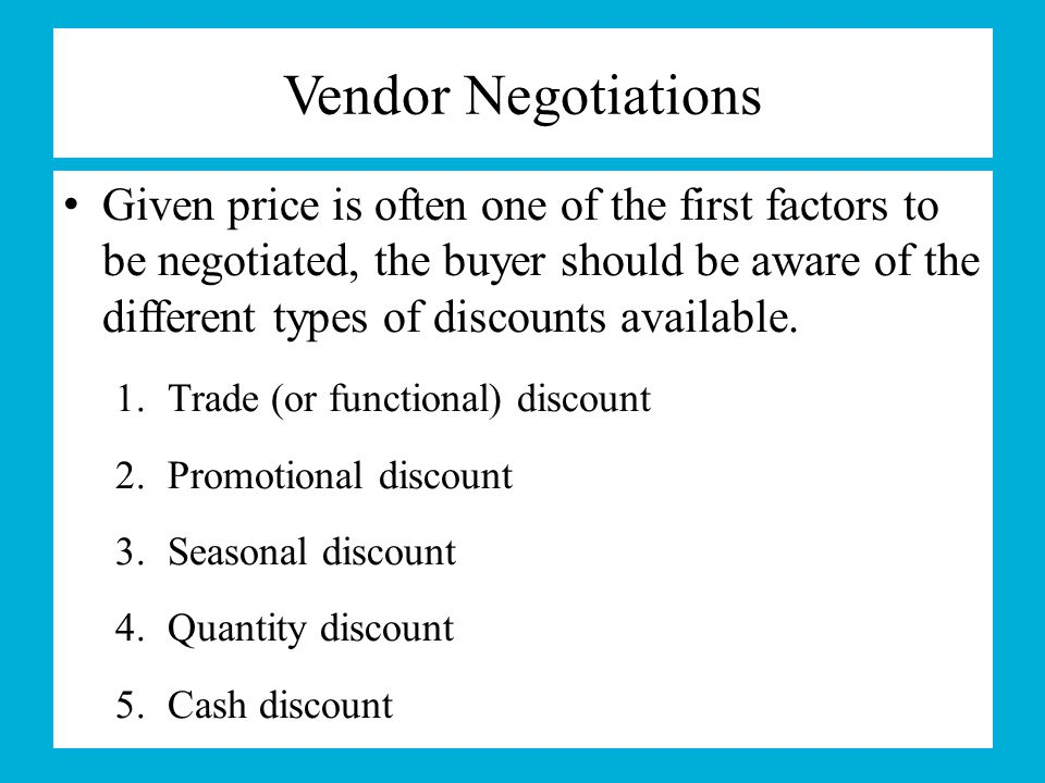 Vendor Negotiations