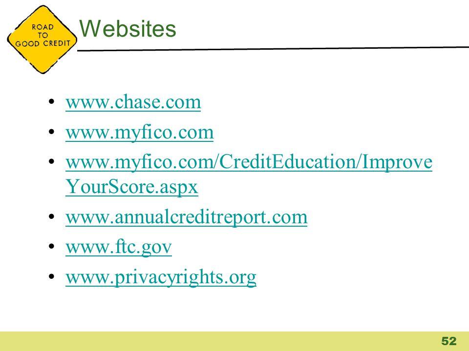 Websites www.chase.com www.myfico.com