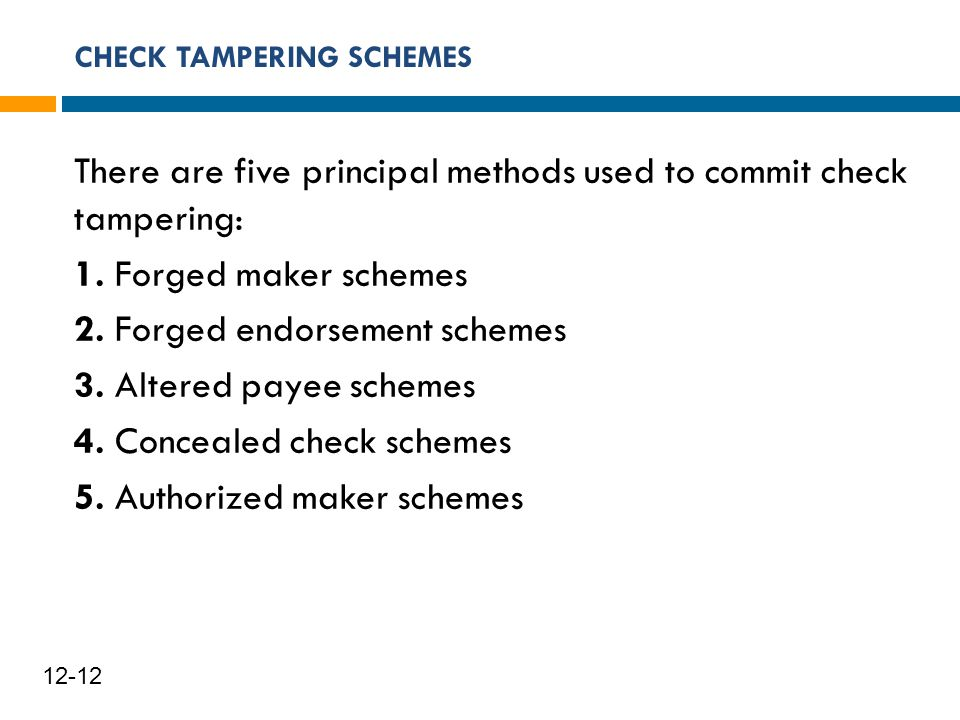 CHECK TAMPERING SCHEMES