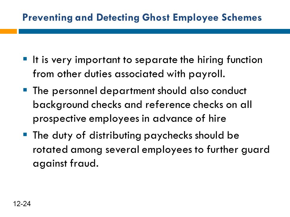 Preventing and Detecting Ghost Employee Schemes