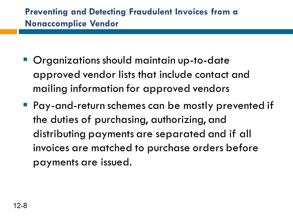Preventing and Detecting Fraudulent Invoices from a Nonaccomplice Vendor