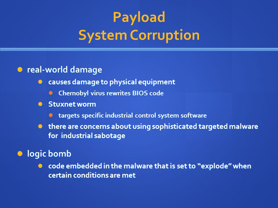 Payload System Corruption