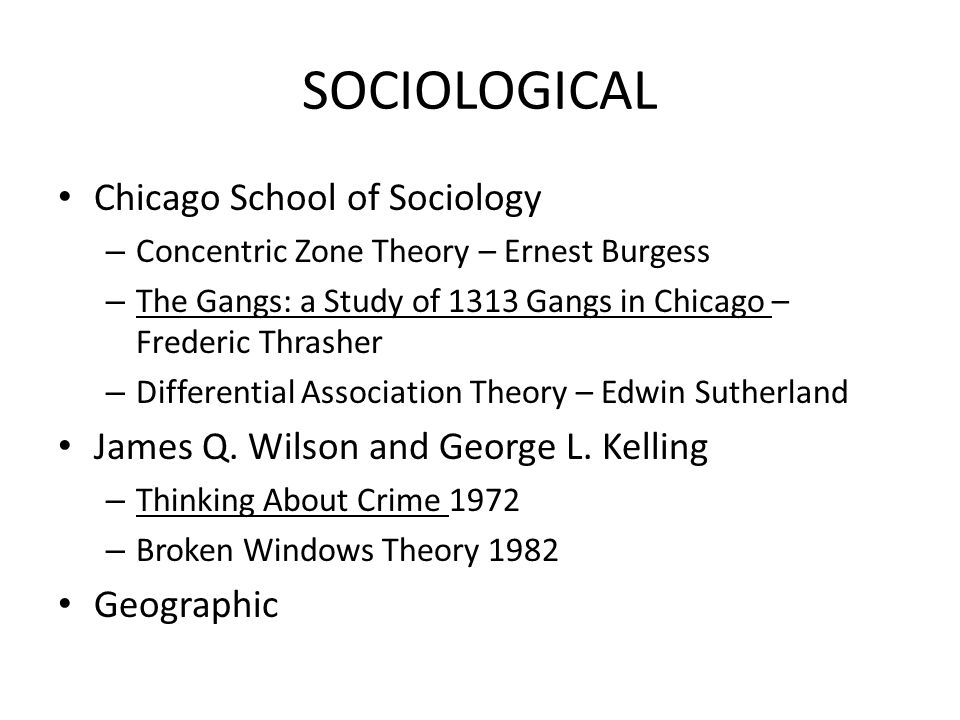 SOCIOLOGICAL Chicago School of Sociology