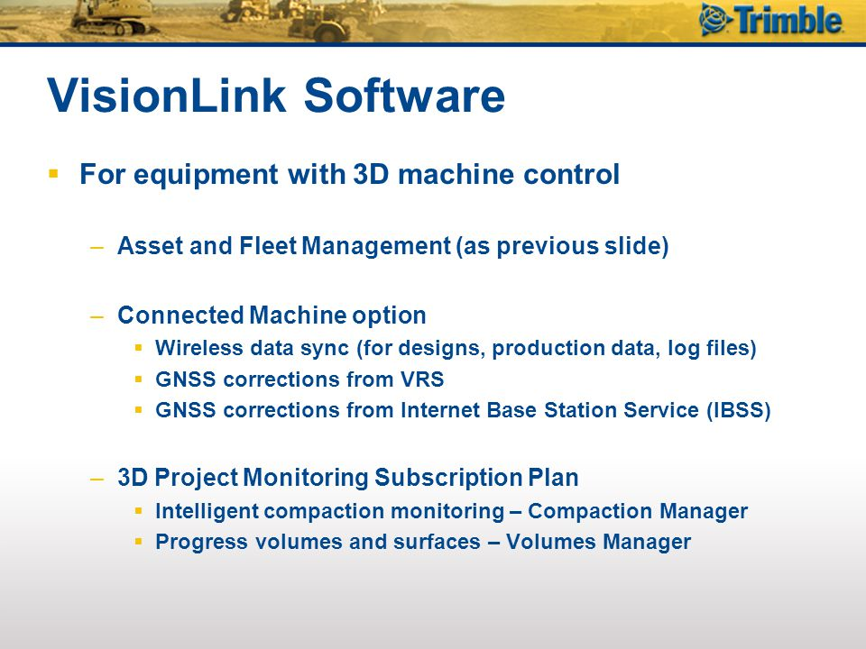 VisionLink Software For equipment with 3D machine control