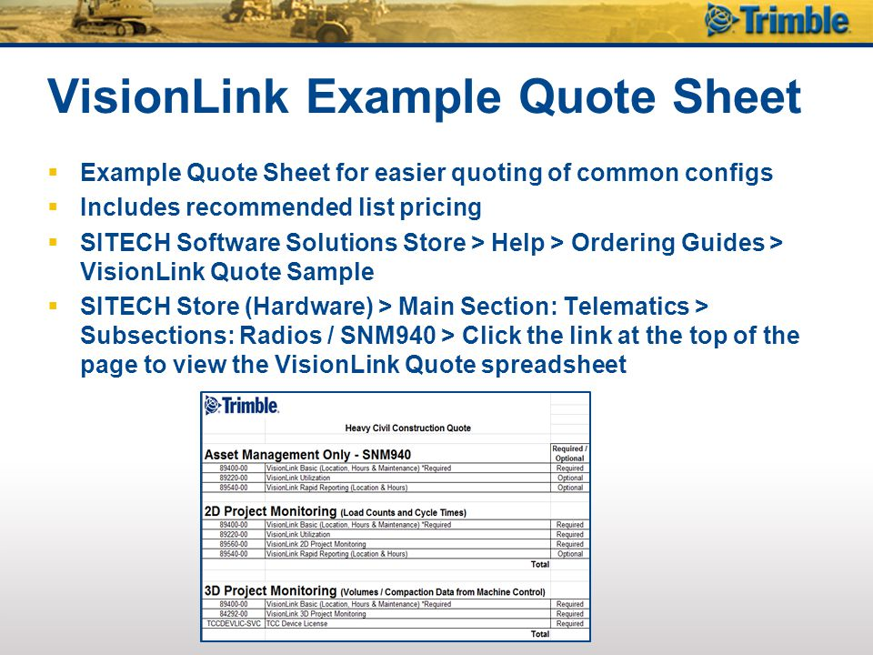 VisionLink Example Quote Sheet