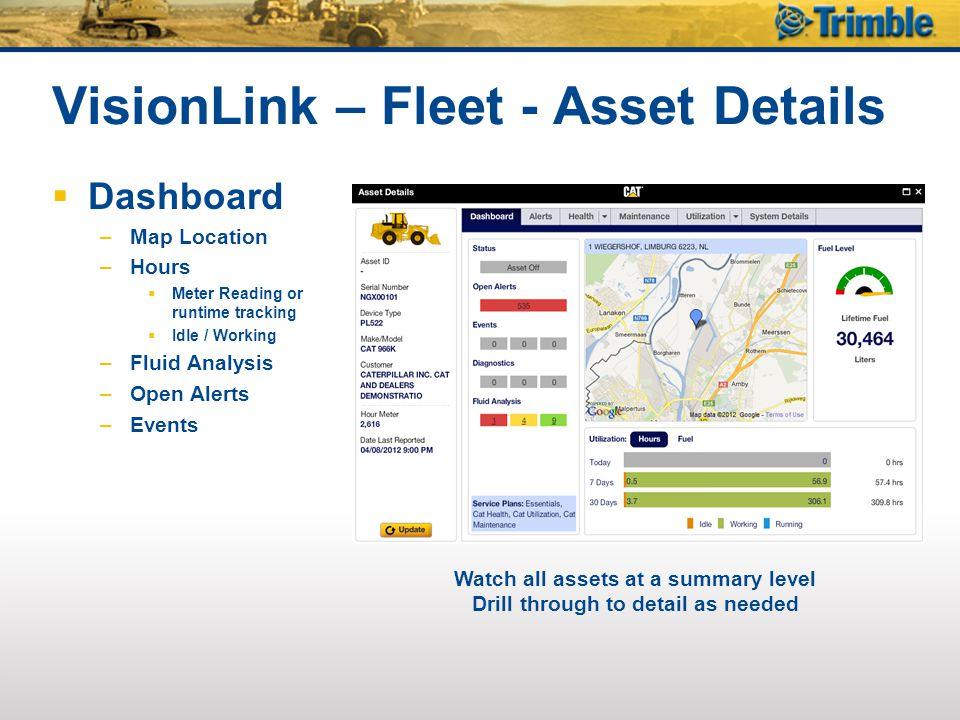 VisionLink – Fleet - Asset Details