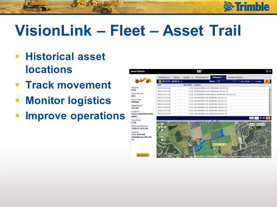 VisionLink – Fleet – Asset Trail
