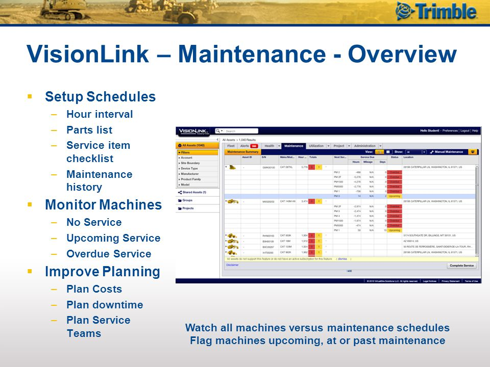 VisionLink – Maintenance - Overview