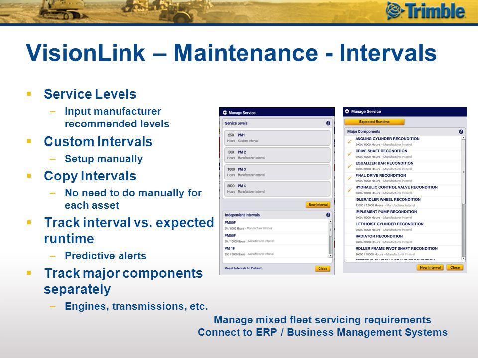 VisionLink – Maintenance - Intervals