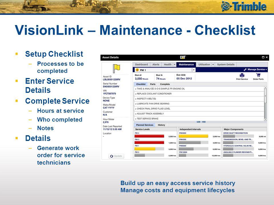 VisionLink – Maintenance - Checklist