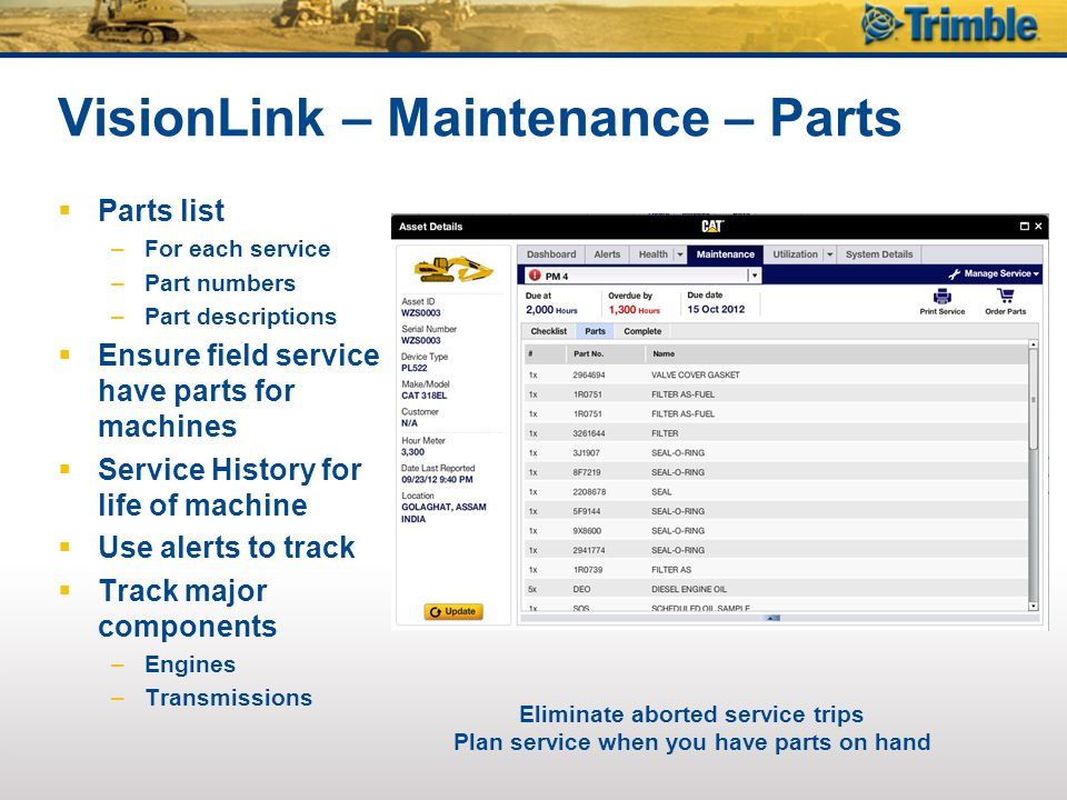 VisionLink – Maintenance – Parts