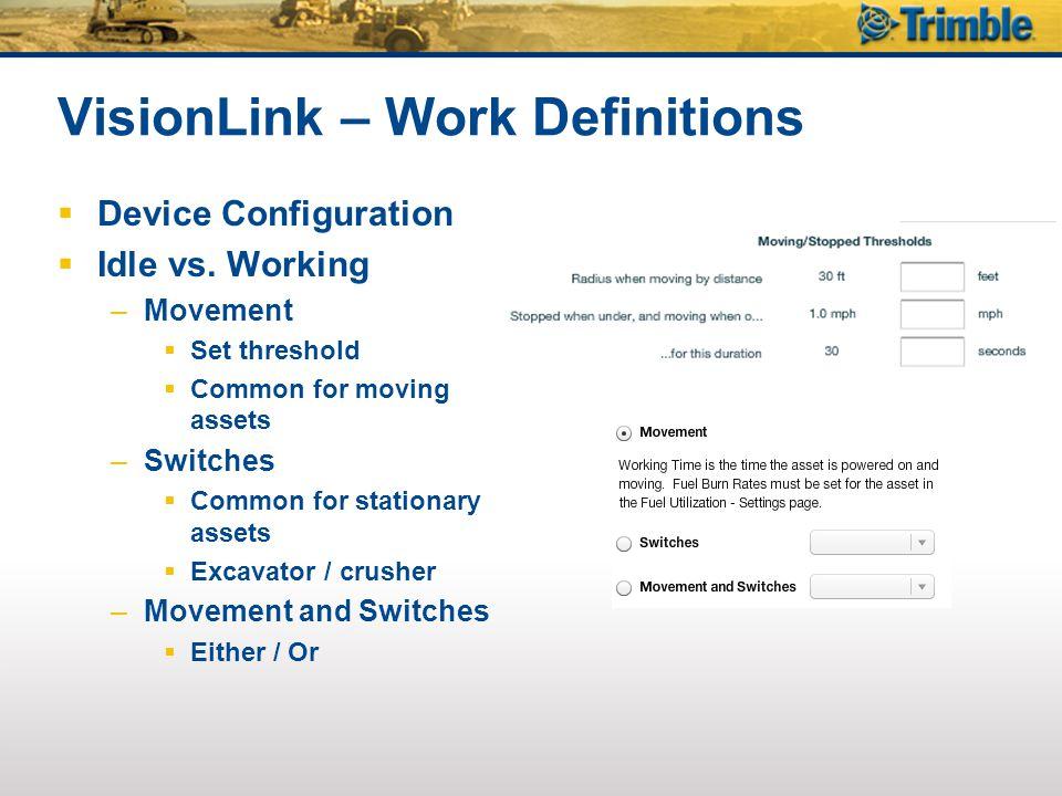 VisionLink – Work Definitions