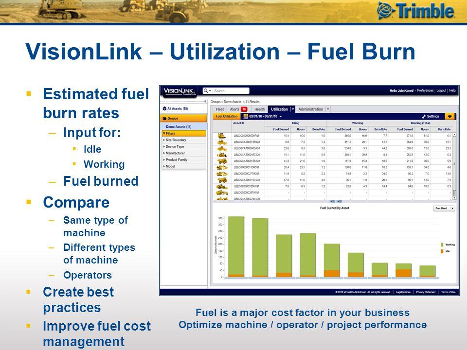 VisionLink – Utilization – Fuel Burn
