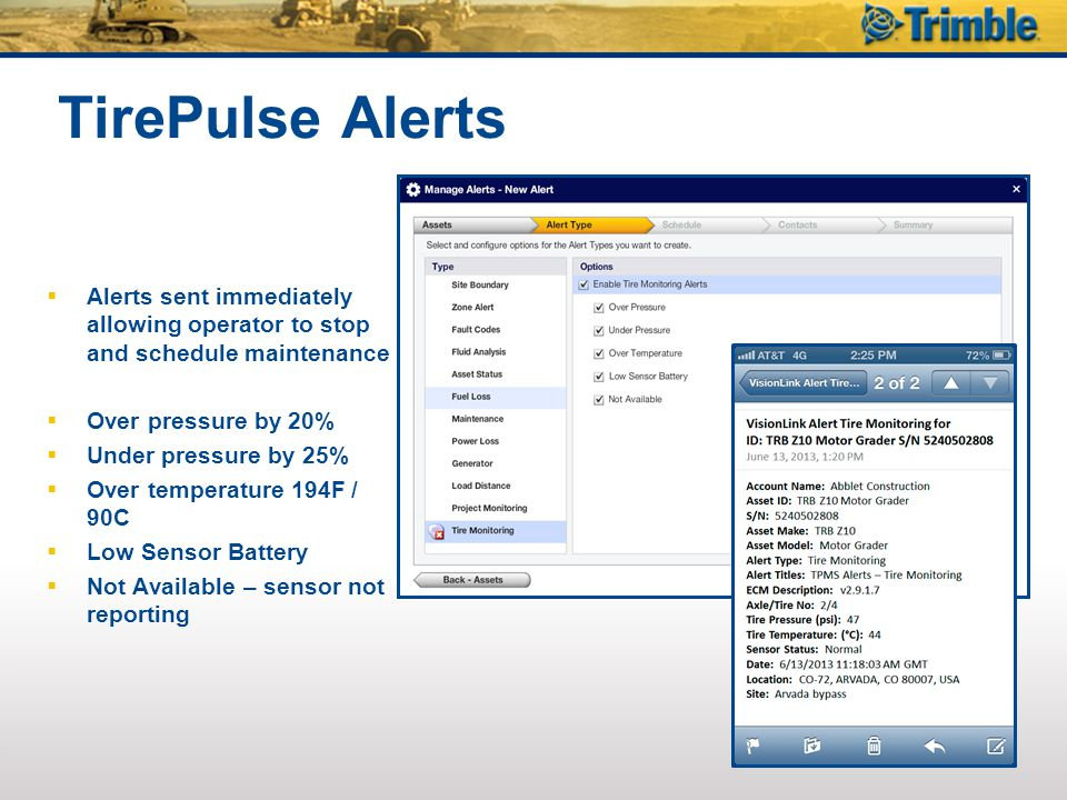 TirePulse Alerts Alerts sent immediately allowing operator to stop and schedule maintenance. Over pressure by 20%