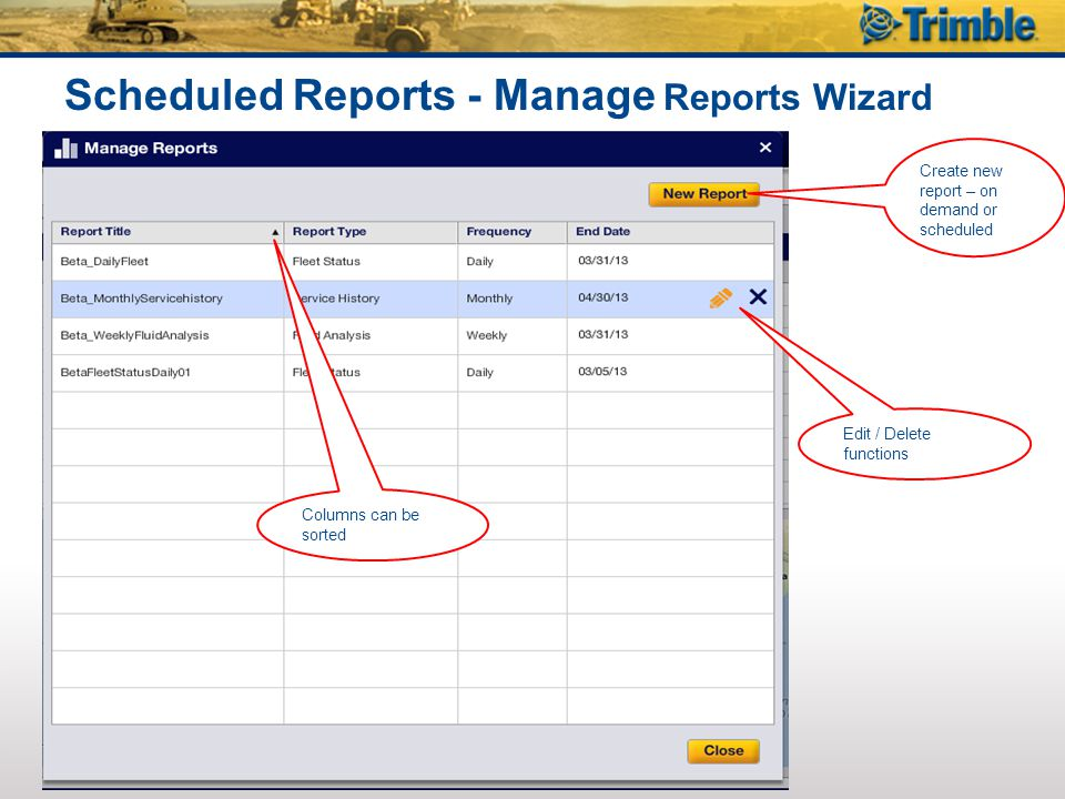 Scheduled Reports - Manage Reports Wizard