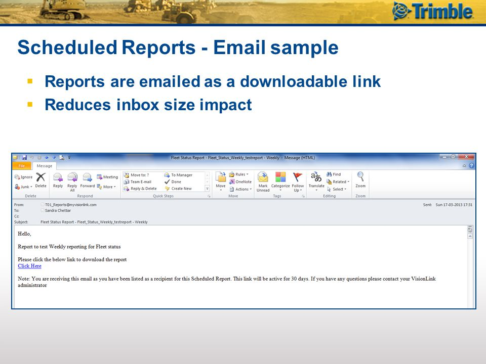 Scheduled Reports - Email sample