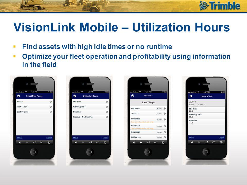 VisionLink Mobile – Utilization Hours