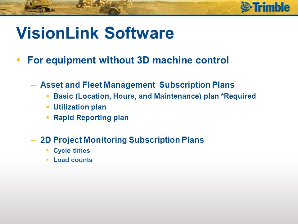 VisionLink Software For equipment without 3D machine control