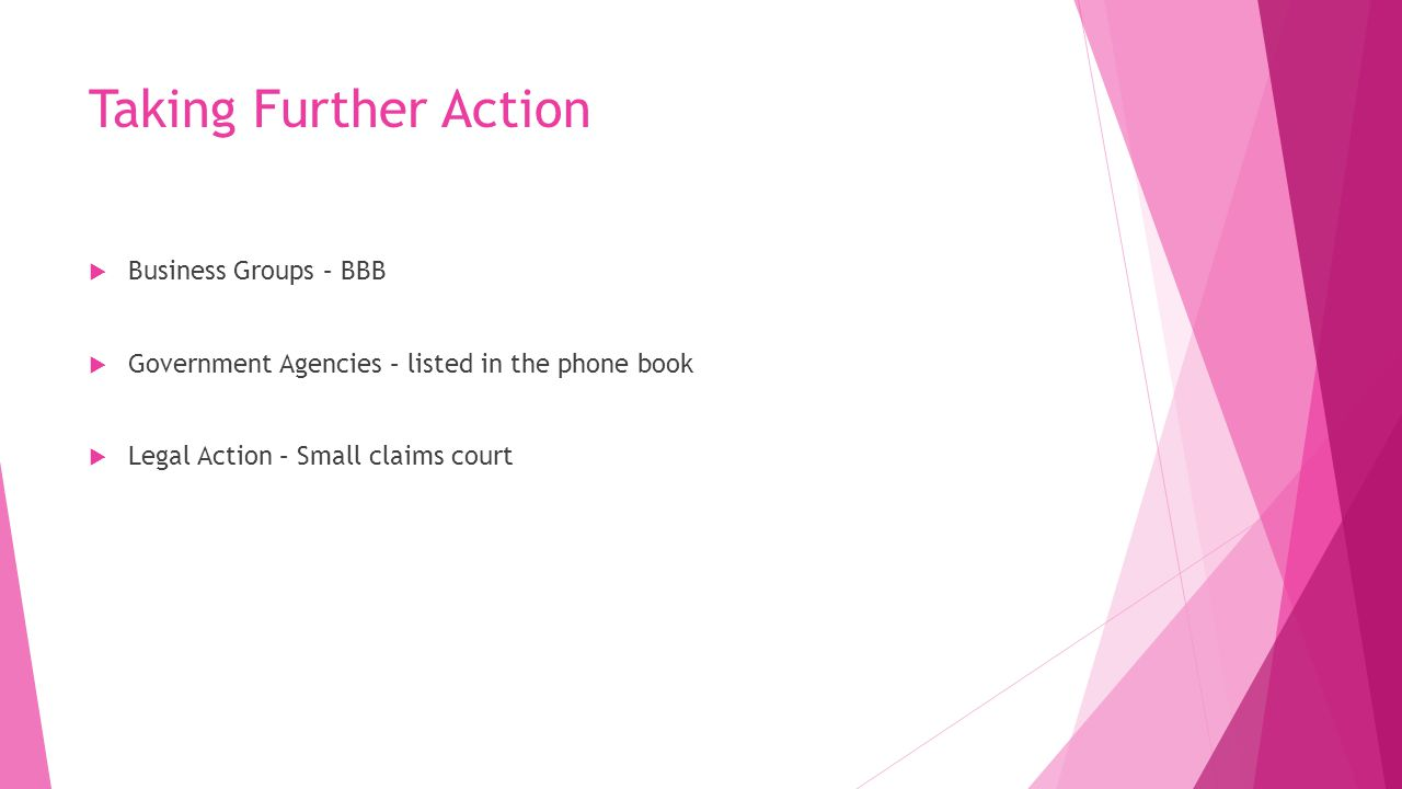 Taking Further Action Business Groups – BBB