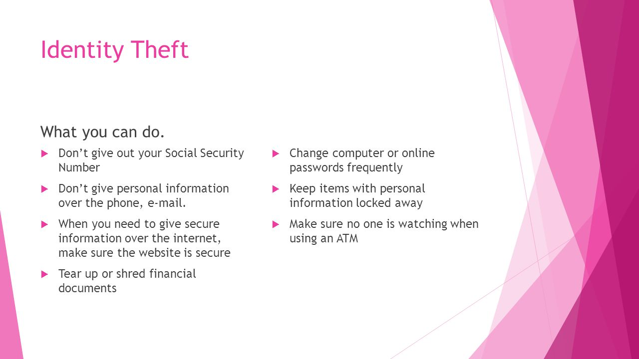 Identity Theft What you can do.
