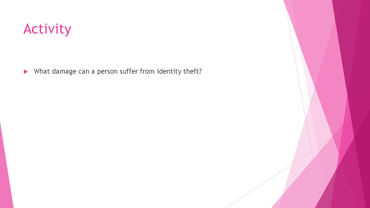 Activity What damage can a person suffer from identity theft
