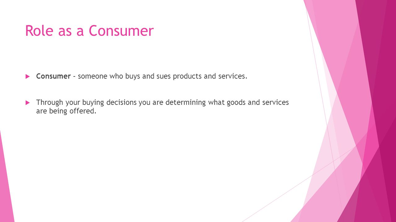 Role as a Consumer Consumer – someone who buys and sues products and services.