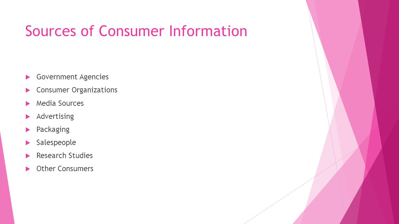 Sources of Consumer Information