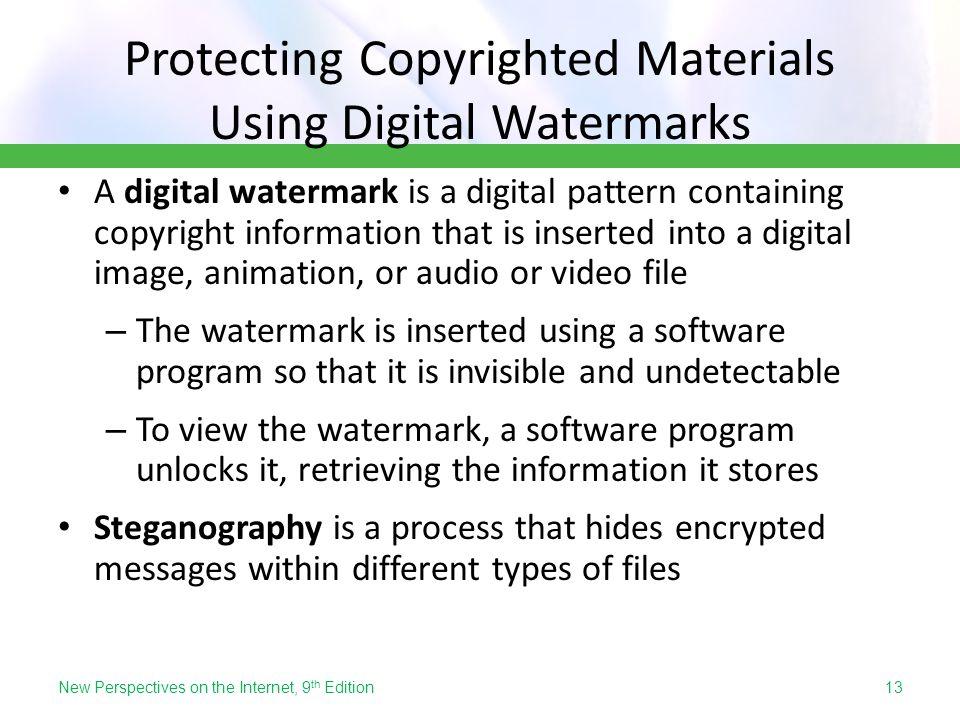 Protecting Copyrighted Materials Using Digital Watermarks