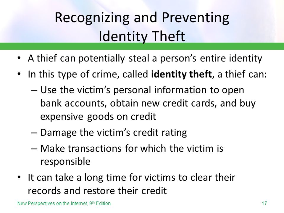 Recognizing and Preventing Identity Theft