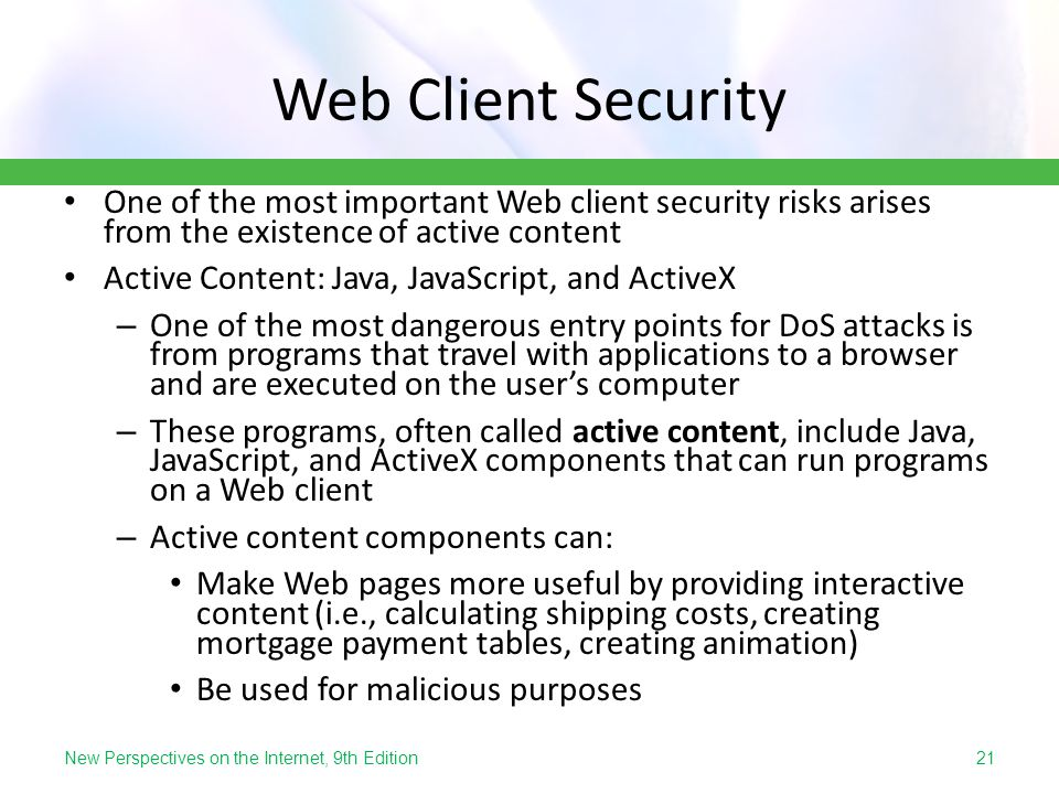 Web Client Security One of the most important Web client security risks arises from the existence of active content.