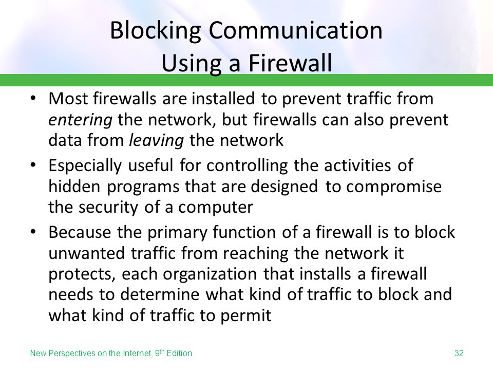 Blocking Communication Using a Firewall
