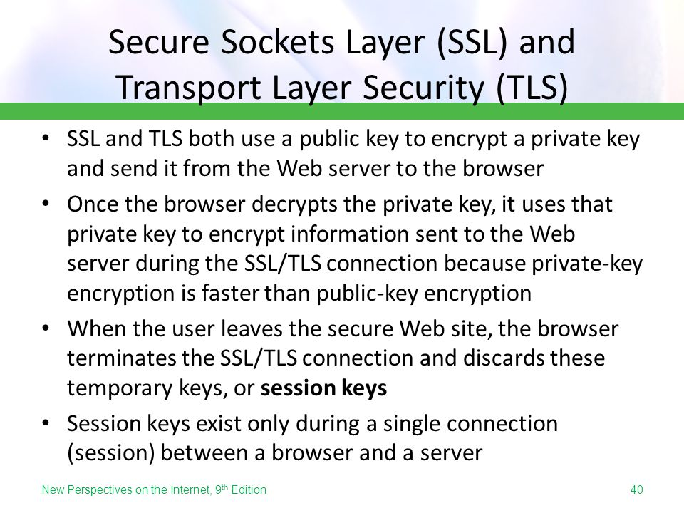 Secure Sockets Layer (SSL) and Transport Layer Security (TLS)