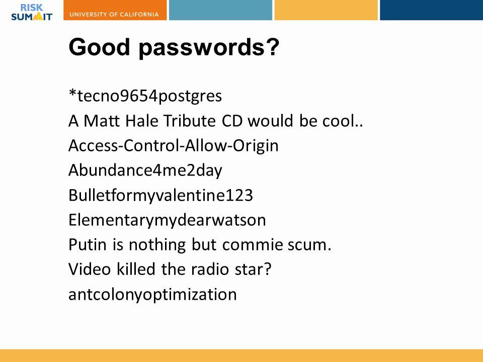 Good passwords